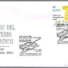 Sellos: MATASELLOS PRIMER DIA - 150 AÑOS MINISTERIO DE FOMENTO. MADRID 2001. Lote 108328223
