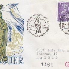 Sellos: RELIGION CORONACION VIRGEN DEL MILAGRO, BALAGUER (LERIDA) 1955 RARO MATASELLOS EN SOBRE CIRCULADO DP. Lote 20171253