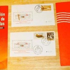 Sellos: LOTE. EXPOSICIÓN FILATELIA ALCOBENDAS 2001. 2 SOBRES 1ER DÍA Y 2 CATÁLOGOS SELLADOS DISTINTOS. Lote 110412635