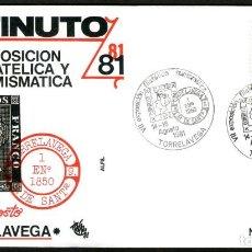 Sellos: SOBRE CONM. VII EXP. FILATELICA Y NUMISMATICA EXFINUTO 81 - TORRELAVEGA. Lote 110611031