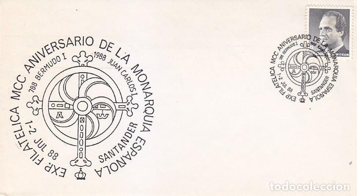 MONARQUIA ESPAÑOLA MCC 1200 ANIVERSARIO, SANTANDER CANTABRIA 1988. MATASELLOS EN RARO SOBRE MOD 1. (Sellos - Historia Postal - Sello Español - Sobres Primer Día y Matasellos Especiales)