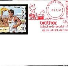 Sellos: BARCELONA 92- FRANQUEO MECÁNICO DE MÁQUINAS DE ESCRIBIR BROTHER BARCELONA. Lote 111061563