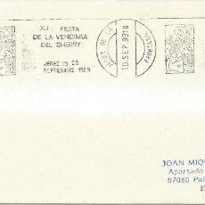 Sellos: 1989. JEREZ. RODILLO/SLOGAN. FIESTA DE LA VENDIMIA DEL SHERRY. HARVEST. VINO/WINE. ALIMENTACIÓN/FOOD. Lote 111383799