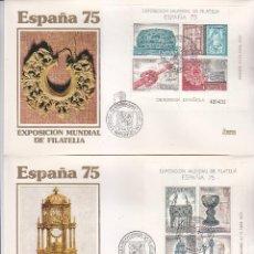 Sellos: FEDERACIONES FILATELICAS EN ESPAÑA 75, MADRID 8 ABRIL 1975 MATASELLOS DOS SOBRES EDIFIL 2252/53 GMPM. Lote 111454563
