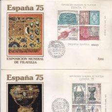 Sellos: CONGRESO INT FILATELIA EN ESPAÑA 75, MADRID 8 ABRIL 1975. MATASELLOS DOS SOBRES EDIFIL 2252/53. GMPM. Lote 111455735