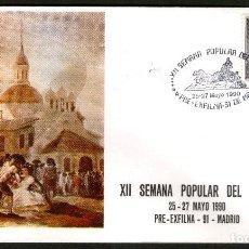 Sellos: SOBRE CONM. XII SEMANA POPULAR DEL SELLO. MADRID 1.990. Lote 111945991