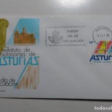 Sellos: SOBRE PRIMER DIA. ESTATUTO DE AUTONOMIA DE ASTURIAS. 1983 (EDIFIL 2688) MATASELLO MADRID 83.. Lote 112236003
