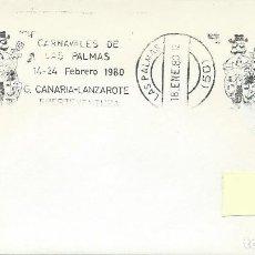 Sellos: 1980. LAS PALMAS. RODILLO/SLOGAN. CARNAVALES. CARNIVALS. FIESTAS. FESTIVALS.. Lote 112579115