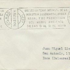 Sellos: 1979. BILBAO. RODILLO/SLOGAN. FERIA SIDEROMETALÚRGICA NAVAL Y DEL MEDIO AMBIENTE. ENVIRONMENT.. Lote 113220423
