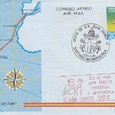 Sellos: RARA MARCA RELIGION AÑO SANTO 1982 SS EL PAPA JUAN PABLO II PEREGRINA SANTIAGO COMPOSTELA AEROGRAMA.. Lote 113327191