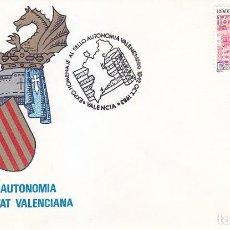 Sellos: HOMENAJE AL SELLO AUTONOMIA VALENCIANA, VALENCIA 1983. RARO MATASELLOS EN SOBRE SERVICIO FILATELICO.. Lote 113328203