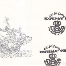 Sellos: DIA DEL CORREO EN LA EXFILNA 92, VALLADOLID 16 OCTUBRE 1992. RARO MATASELLOS EN SOBRE ILUSTRADO.. Lote 113331735