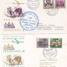 Sellos: RARA MARCA AEREA PRIMER VUELO LH 177 BARCELONA-FRANKFURT-BARCELONA 1963 DOS SOBRES TOROS TAUROMAQUIA. Lote 113341747