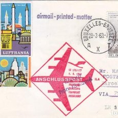 Sellos: RARA MARCA AEREA CARTA CIRCULADA BRUSELAS 1963 VIA PRIMER VUELO BOEING JET 720 B FRANKFURT-BARCELONA. Lote 113342523