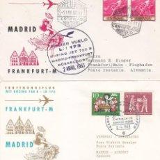 Sellos: RARA MARCA AEREA PRIMER VUELO LH 173 BOEING JET 720 B MADRID-FRANKFURT-MADRID 1963 EN DOS SOBRES ILU. Lote 113343803