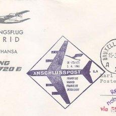 Sellos: RARA MARCA AEREA CARTA CIRCULADA BRUSELAS 1963 VIA PRIMER VUELO BOEING JET 720 B FRANKFURT-MADRID.. Lote 113344835