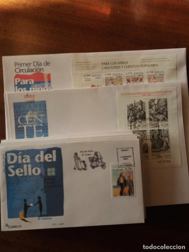 LOTE SPD 2005 (Sellos - Historia Postal - Sello Español - Sobres Primer Día y Matasellos Especiales)