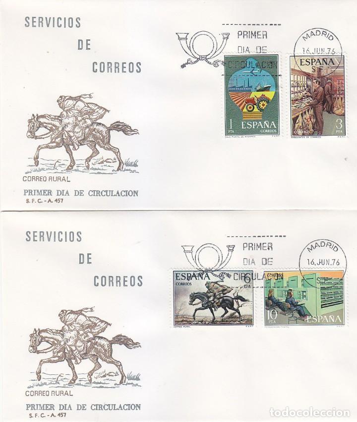 SERVICIOS DE CORREOS 1976 (EDFIL 2329/32) EN DOS SOBRES PRIMER DIA DEL SERVICIO FILATELICO. (Sellos - Historia Postal - Sello Español - Sobres Primer Día y Matasellos Especiales)