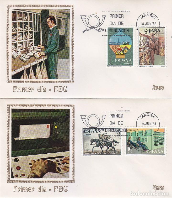 SERVICIOS DE CORREOS 1976 (EDFIL 2329/32) EN DOS SOBRES PRIMER DIA DE MUNDO FILATELICO. (Sellos - Historia Postal - Sello Español - Sobres Primer Día y Matasellos Especiales)