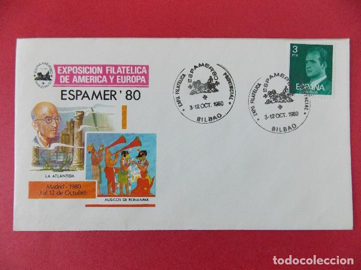 SOBRE, EXPO FILATELICA ESPAÑA EUROPA - ESPAMER 80 - MATASELLOS, BILBAO 3 AL12 OCT1980 .... R-8673 (Sellos - Historia Postal - Sello Español - Sobres Primer Día y Matasellos Especiales)