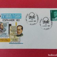 Sellos: SOBRE, EXPO FILATELICA ESPAÑA EUROPA - ESPAMER 80 - MATASELLOS, BILBAO 3 AL12 OCT1980 .... R-8674. Lote 115391487