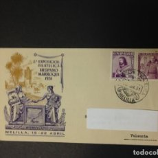 Sellos: EXPOSICION FILATELICA HISPANO MARROQUI MELILLA 1951. Lote 115634411