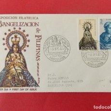 Sellos: SOBRE EXPO FILATELICA IV CENT. EVANGELIZACION FILIPINAS, MATASELLOS BARCELONA 1965 .. R-8773. Lote 116336459