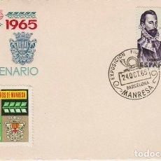Sellos: AÑO 1965, MANRESA, CENTENARIO CAJA DE AHORROS DE MANRESA, EDITADO POR LA CAJA DE AHORROS MÁS VIÑETA. Lote 117389163