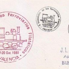 Sellos: TRENES FERROVIARIOS FILATELICOS II EXPOSICION, VALENCIA 1981. MATASELLOS FERROCARRIL SOBRE ILUSTRADO. Lote 117471599
