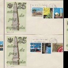 Sellos: EDIFIL 1576/89, 25 AÑOS DE PAZ, PRIMER DIA DE 1-4-1964 EN 5 SOBRES DEL SFC. Lote 117836611