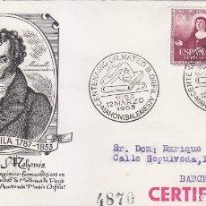 Sellos: CENTENARIO DOCTOR MATEO ORFILA, MAHON (BALEARES) 1953. RARO MATASELLOS EN SOBRE CIRCULADO DE ALFIL.. Lote 118087991