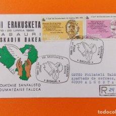 Sellos: SOBRE CIRCULADO - VIII ERAKUSKETA, URRIA - AÑO 1986 - BASAURI, EUSKADIN BAKEA... R- 8891. Lote 118352063