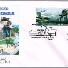 Sellos: MATASELLOS PRIMER DIA - MUSEO GUGGENHEIM. BILBAO, VIZCAYA, 2018. Lote 118371999