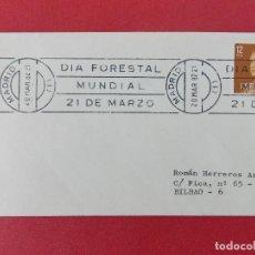 Sellos: SOBRE CIRCULADO , MATASELLOS RODILLO - DIA FORESTAL MUNDIAL - 20 MAR 1982 ...R- 8961. Lote 118654351