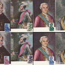 Sellos: EDIFIL Nº 1526/33, FORJADORES DE AMERICA 1963, TARJETAS MAXIMA DE PRIMER DIA DE 12-10-1963. Lote 119208035