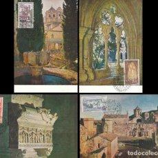 Sellos: EDIFIL 1494/7, MONASTERIO DE POBLET, TARJETA MÁXIMA DE PRIMER DIA DE 25-2-1963. Lote 119223315