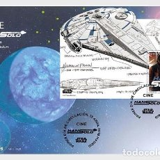Sellos: SPAIN 2018 - CINEMA, STAR WARS, HAN SOLO - MINIATURE SHEET FDC. Lote 121821355