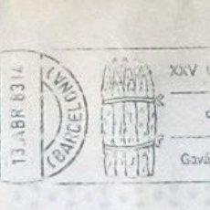 Sellos: RODILLO EN SOBRE COMPLETO XXV CONCURSO-EXPOSICIÓN DE ESPÁRRAGOS GAVÁ 30 ABRIL-1 MAYO 1983. Lote 119700967
