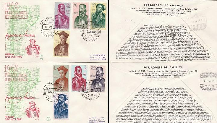 EDIFIL 1454/61, FORJADORES DE AMERICA 1962, PRIMER DIA 12-10-1962 EN 4 SOBRES ALFIL CIRCULADO (Sellos - Historia Postal - Sello Español - Sobres Primer Día y Matasellos Especiales)