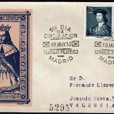 Sellos: ESPAÑA 1952 SPD -EDIFIL 1106/1107 - V CENT. NAC. FERNANDO EL CATÓLICO. Lote 120325891