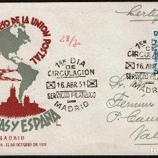 Sellos: ESPAÑA 1951 SPD -EDIFIL 1091 - VI CONGRESO UNIÓN POSTAL DE LAS AMÉRICAS Y ESPAÑA. Lote 120335123