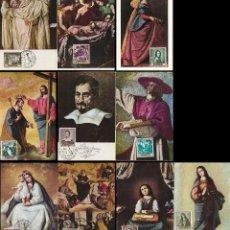 Sellos: EDIFIL 1418/27, ZURBARAN, CUADROS, TARJETA MÁXIMA MATASELLO EXPOSICION PRIMER DIA 24-3-1962 COMPLETA. Lote 120446419