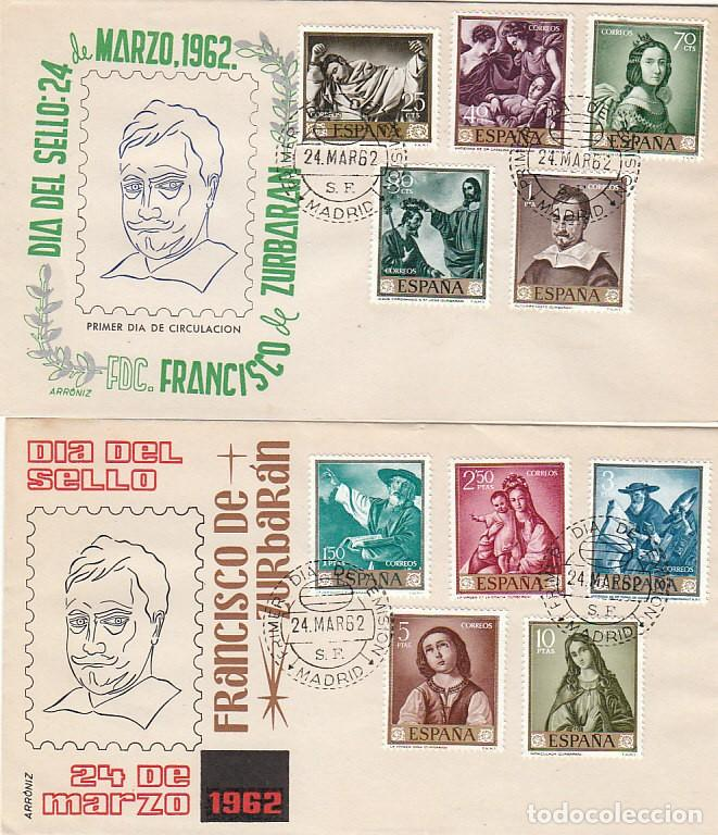 EDIFIL 1418/27, PINTORES: ZURBARAN, PRIMER DIA DE 24-3-1962 ARRONIZ (Sellos - Historia Postal - Sello Español - Sobres Primer Día y Matasellos Especiales)