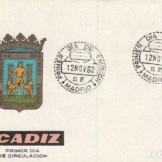 Sellos: EDIFIL 1416, ESCUDO DE CADIZ, PRIMER DIA CON MATASELLO DE MADRID DEL AÑO 1962 SOBRE DE ARRONIZ. Lote 120637183