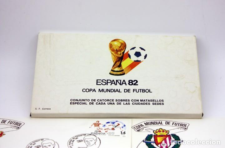 Sellos: ESPAÑA 82 - COPA MUNDIAL DE FUTBOL - 14 SOBRES DE LAS CIUDADES SEDES - MATASELLOS PRIMER DIA - Foto 2 - 120734287