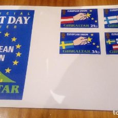 Sellos: SOBRE PRIMER DIA DE GIBRALTAR DE LA UNION EUROPEA, SIN CIRCULAR. Lote 121391371