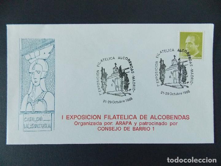SOBRE , 1ª EXPO FILATELICA DE ALCOBENDAS ( MADRID) - ORGANIZA ARAPA - AÑO 1988.. R-9262 (Sellos - Historia Postal - Sello Español - Sobres Primer Día y Matasellos Especiales)