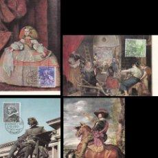 Sellos: EDIFIL 1340/3, III CENTENARIO DE VELAZQUEZ, TARJETA MÁXIMA PRIMER DIA DE 17-4-1961 SERIE COMPLETA. Lote 121742431