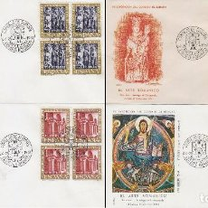 Sellos: EDIFIL 1365/8, ARTE ROMANICO, PRIMER DIA ESPECIAL DE BARCELONA DE 24-7-1961 ALFI BLOQUE 4, RARISIMO. Lote 121745839