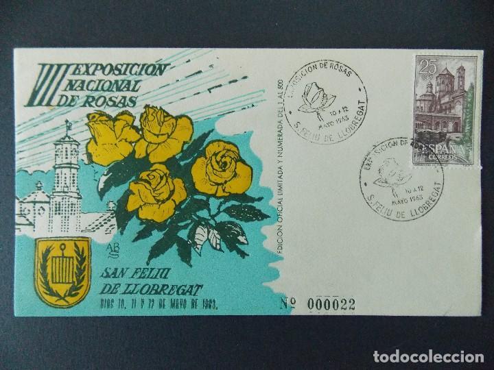 SOBRE VII EXPO NACIONAL DE ROSAS - MATASELLOS SAN FELIU DE LLOBREGAT 1963.. R-9305 (Sellos - Historia Postal - Sello Español - Sobres Primer Día y Matasellos Especiales)